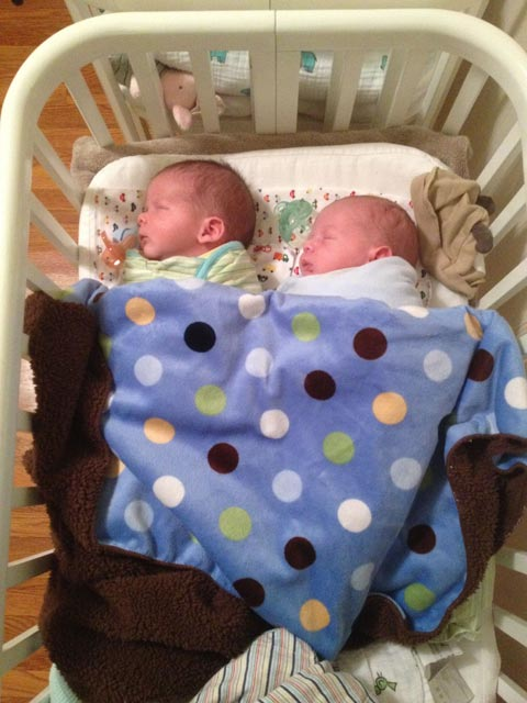 Twin baby boys Max and Sam under a blanket in an Argington BAM Bassinet