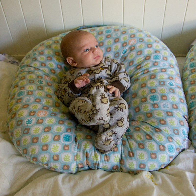 baby boy sam sits in a Boppy Newborn Lounger wearing a monkey-themed outfit
