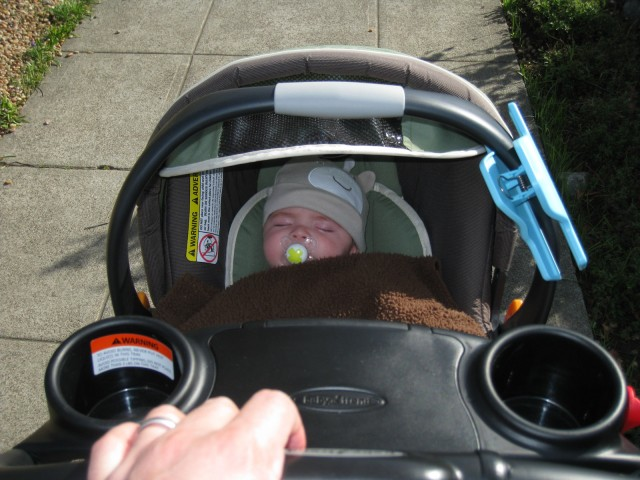 baby boy max rides in a Chicco carseat in a BabyTrend Snap-N-Go stroller, pushed by Ken