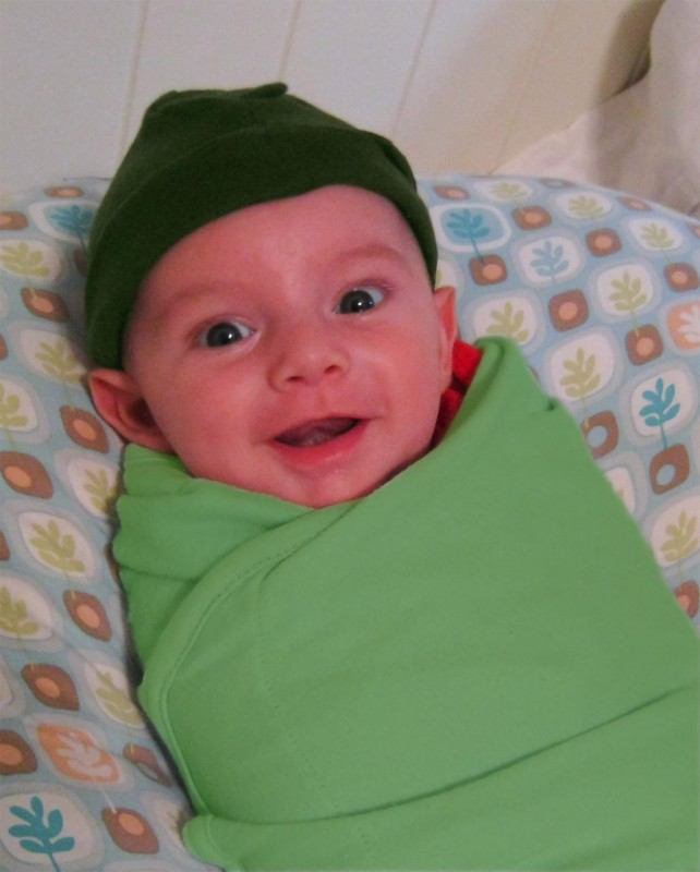 baby, boy, sam, poses in green as a Leprechaun