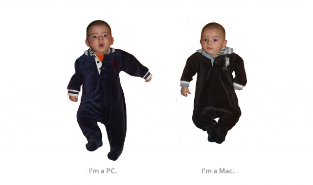 Two baby boys, Max and Sam, play Mac and PC a la Jonathan Hodgman and Justin Long