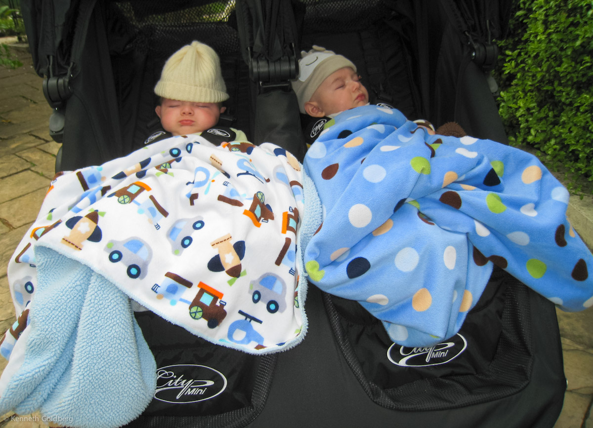 twin brothers, baby boys, max and sam, fell asleep in their City Mini GT Double Stroller, under Circo Valboa blankets