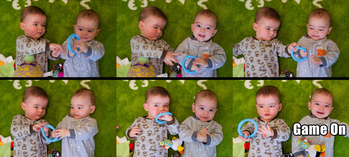 Twin baby boys Max and Sam tussle over a teething toy. Max won this round.