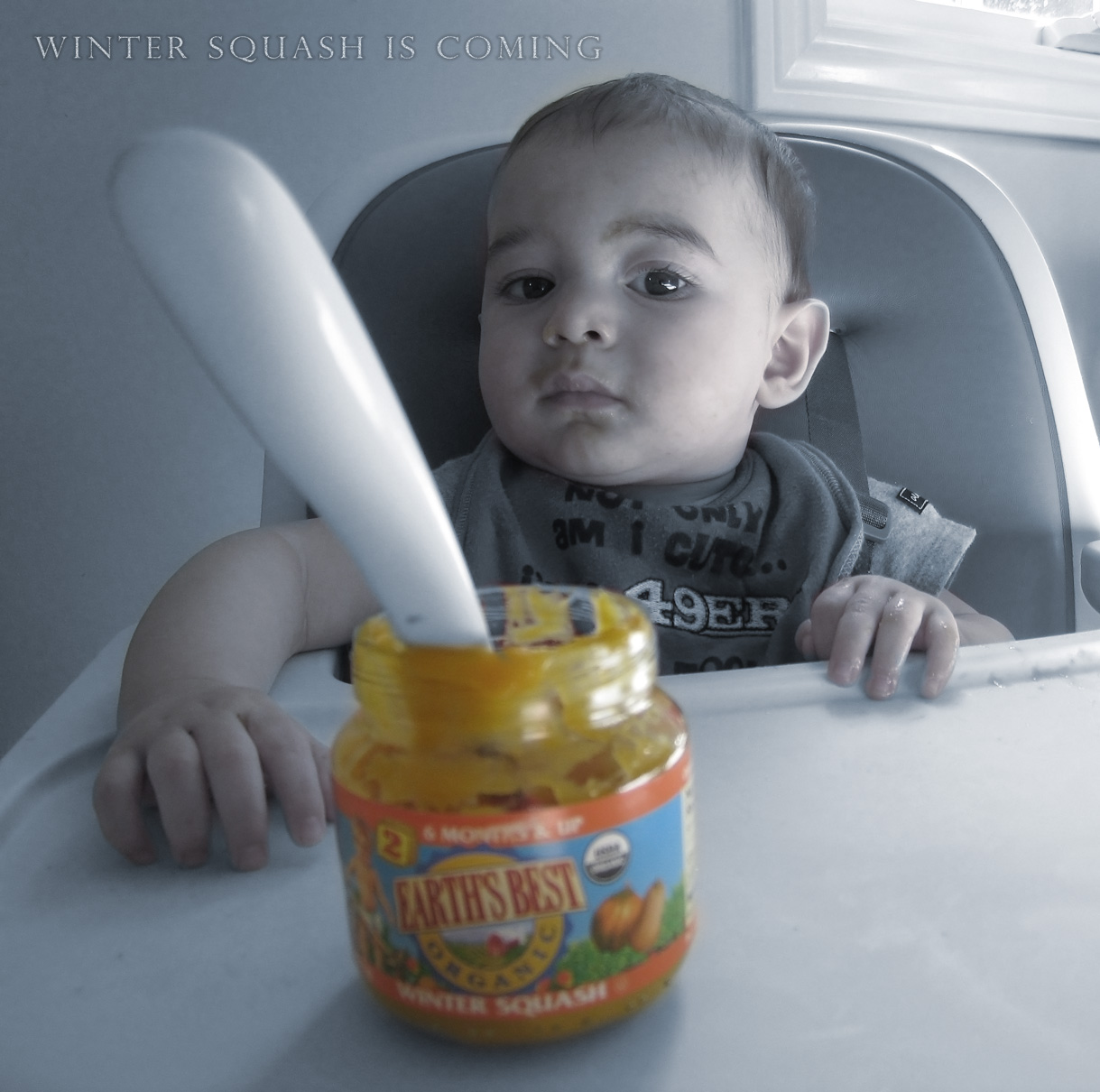 baby boy sam, sits in a highchair waiting for his winter squash